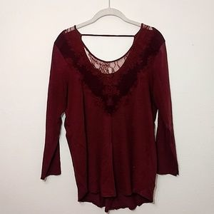 Lucky Brand | Maroon Long Sleeve Lace Detail Shirt